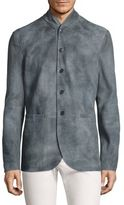 John Varvatos Mock Collar Leather Jacket