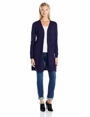 Sag Harbor Women's Long Sleeve Open Carcoat Duster Cardigan Cashmerlon Sweater