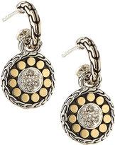 John Hardy Sterling Silver & 18k Gold Dot Drop Earrings w/ Diamonds