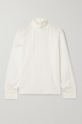 Vanessa Bruno - Pretty Pintucked Embroidered Cotton-voile Blouse - White