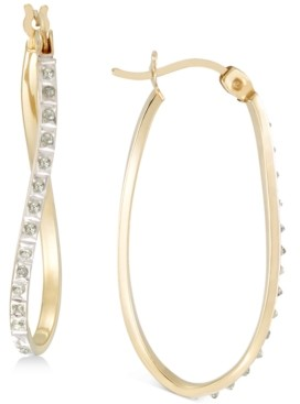 Giani Bernini Diamond Accent Twist Hoop Earrings in 18k Gold-Plated Sterling Silver, Created for Macy's