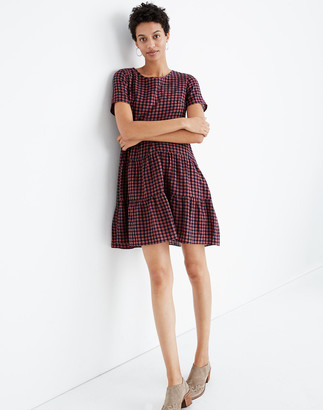 Madewell Short-Sleeve Tiered Mini Dress in Gingham Check