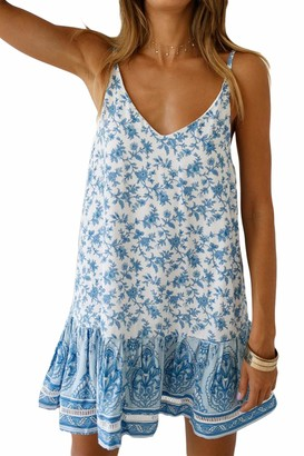 Zilcremo Women Summer Bohemian Dresses Floral Beach Tunic Cami Boho Dress 4 M
