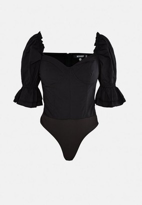 Missguided Black Puff Sleeve Bust Cup Bodysuit