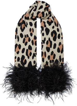 Eugenia Kim Theda Feather-trimmed Leopard-jacquard Cashmere Scarf