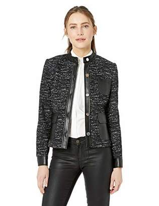 Calvin Klein Women's Ponte Button Front Jacket with Pleather Pockets