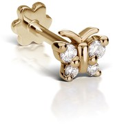 Maria Tash 4mm Diamond Butterfly Thread Through Stud Earring - Yellow Gold