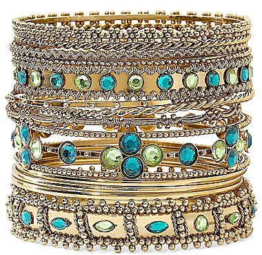 JCPenney 13-pc. Gold-Tone Green Beaded Bangle Set