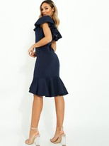 Quiz Scuba Square Neck Frill Sleeve Midi Dress with Frill Hem - Navy