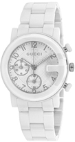 Gucci G-Chrono YA101353 Men's White IP Stainless Steel and Ceramic Chronograph Watch