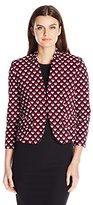 Nine West Women's Printed Twill Kiss Front Jacket