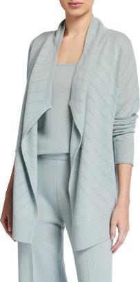 Neiman Marcus Diagonal Mesh Stitch Draped Cashmere Cardigan