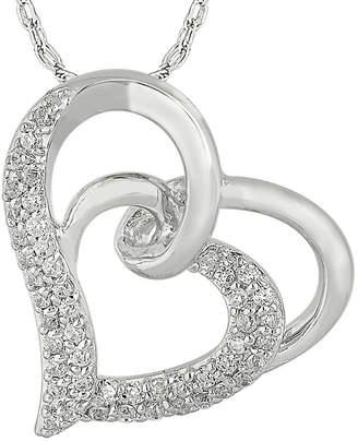 FINE JEWELRY 1/3 CT. T.W. Diamond 10K White Gold Double Heart Pendant Necklace