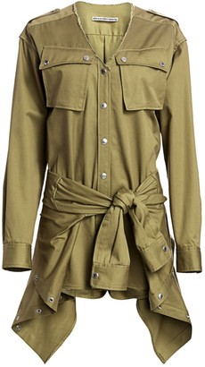 Alexander Wang Tie-Front Cargo Cotton Trench Romper