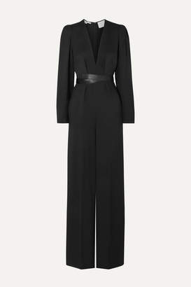 Stella McCartney + Net Sustain Faux Leather-trimmed Twill Jumpsuit - Black