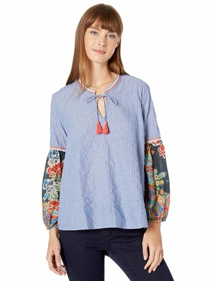 3J Workshop by Johnny Was Women's Scarf Mix Blouse