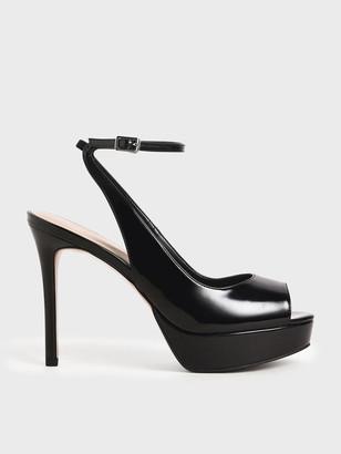 Charles & Keith Patent Ankle Strap Platform Heels