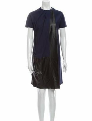 Celine Crew Neck Knee-Length Dress Blue