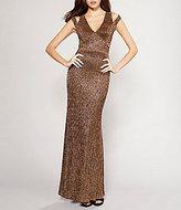 Calvin Klein Split-Sleeve Metallic Knit Gown