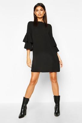 boohoo Volume Sleeve Woven Shift Dress