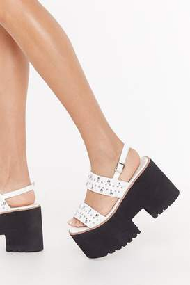 Nasty Gal Womens Studded 2 Part Chunky Sandals - White - 3, White