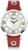 Salvatore Ferragamo Gancino Deco Collection Silver Tone Stainless Steel Case and Leather Strap Women's Watch