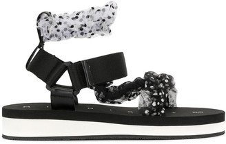 Midnight 00 Polka Dot Patterned Strappy Sandals