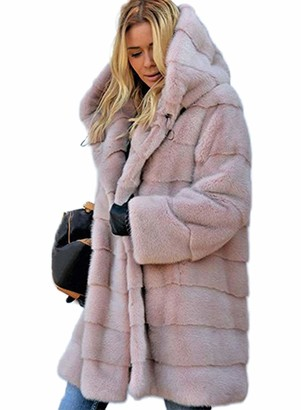 LOSRLY Womens Fashion Winter Thick Faux Fur Big Hooded Parka Long Peacoat Jackets Coats with Pockets Plus Size Gray