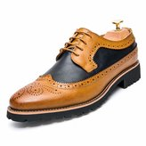 KazmeSports Men's Fashion Brogue Genuine Leather Oxfords Shoes / 9.5