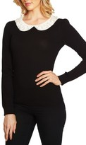 CeCe Women's Embellished Intarsia Collar Sweater