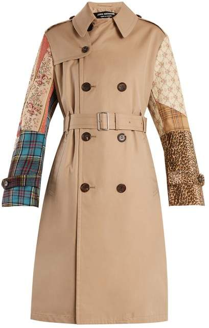 Junya Watanabe Contrast Sleeve Cotton Garbardine Trench Coat - Womens - Beige Multi