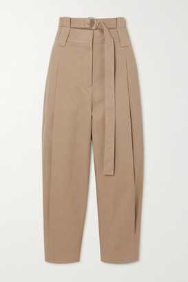Tibi Myriam Belted Pleated Cotton-blend Twill Tapered Pants - Sand