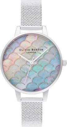 Olivia Burton Under the Sea Mermaid Tail Boucle Mesh Watch, 34mm