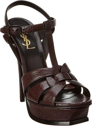 Saint Laurent Tribute 105 Embossed Leather Sandal