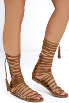 Liliana Special Delivery Tan Suede Lace-Up Sandals