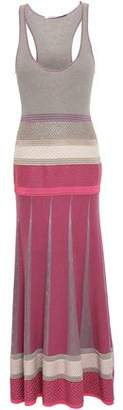 Agnona Pleated Paneled Cashmere-blend Maxi Dress
