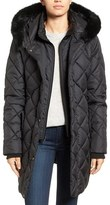 Larry Levine Women's Faux Fur Trim Long Quilted Coat With Inset Bib