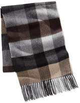 Club Room Men's Buff Plaid Cashmere Scarf, Created for Macy's