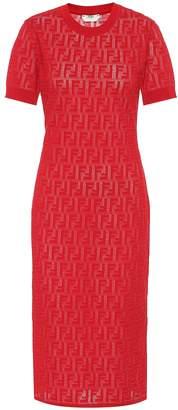 Fendi Cotton-blend knit midi dress