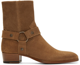 Saint Laurent Brown Suede Wyatt Boots