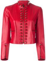 Fendi pyramid stud jacket - women - Lamb Skin/Silk - 40