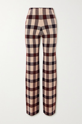 Victoria Victoria Beckham Checked Stretch-knit Straight-leg Pants - Navy