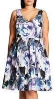 City Chic Plus Size Women's 'Luminous' Floral Print Fit & Flare Dress