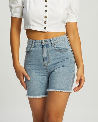 Rusty Women's Blue Denim - All Day Long Denim Shorts - Size 6 at The Iconic