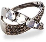Siena Jewelry Moonstone & Diamond Ribbon Ring, Size 7