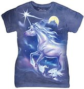 The Mountain Cotton Unicorn Star Design Novelty Womens T-Shirt L
