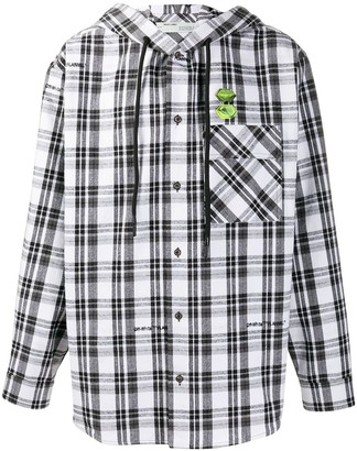 Off-White Check Pattern Hooded Shirt