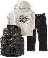 Calvin Klein Little Boys' Vest, Woven Shirt & Pants Set