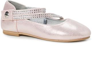 bebe girls Girls' Ballet Flats Blush - Blush Shimmer Crisscross-Strap Ballet Flat - Girls