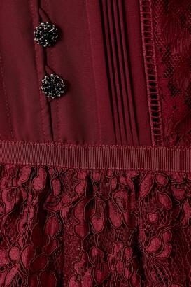 Self-Portrait Tiered Cotton-blend Corded Lace And Crepe De Chine Midi Dress - Burgundy